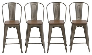 24 quot Metal Antique Rustic Counterheight Stool Chair High Back Wood Seat Set of 4