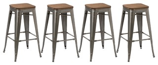 30 quot Stackable Metal Brush Distressed Counter Bar Stools Wood Seat Set of 4