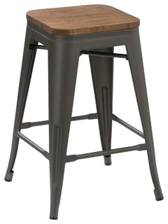 24 quot Metal Vintage Style Gunmetal Counter Stools Handmade Wood Top Set of 4
