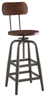 Sullivan Swivel Stool Pewter and Walnut
