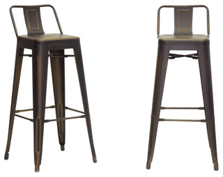 Baxton Studio Industrial Bar Stools Set of 2 Antique Copper