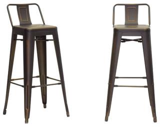 Baxton Studio Industrial Bar Stools Set of 2 Antique Copper