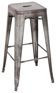 Kiara Bar Stools Set of 2 Antique Silver