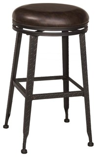 Backless Swivel Counter Stool Black and Copper Finish
