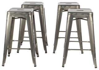 Gun Metal Industrial 26 quot Counter Stool Set of 4