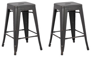 Clinton Stools Set of 2 Black 24 quot