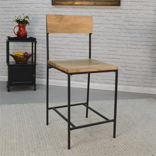 Carolina Classics Elmsley 24 quot Counter Stool Natural Mango and Black