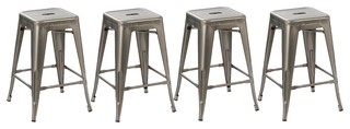 24 quot Solid Modern Distressed Metal Clear Brush Counter Bar Stools Set of 4