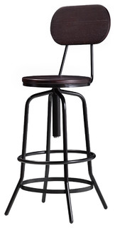 Wallace Adjustable Counter Bar Stool With Back Dark Walnut