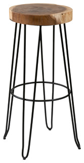 East At Main x27 s Mapleton Brown Round Teakwood Barstool