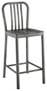 Modern Contemporary Urban Kitchen Room Counter Stool Chair Silver Metal Steel