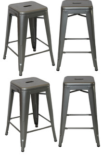 24 quot Industrial Backles Stacking Metal Polish Silver Counter Bar Stool Set of 4