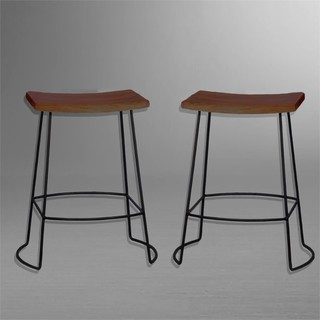 Carolina Classics Aryan 24 quot Saddle Seat Counter Stools Set of 2