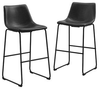 Faux Leather Bar Stools Set of 2 Black