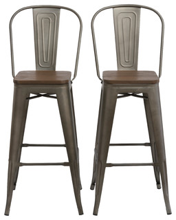 30 quot Metal Antique Rustic Bar Height Stool Chair High Back Wood Seat Set of 2