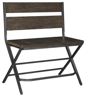 Double Counter Stool in Medium Brown Finish