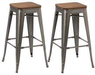 30 quot Vintage Style Brush Distressed Metal Bar Stools Wood Seat Set of 2