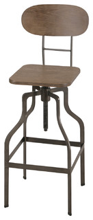 Industrial Style Adjustable Logan Metal Stool With Back Bamboo Seat
