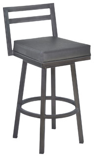 Moniq Swivel Bar Stool Vintage Gray Faux Leather and Mineral 26 quot