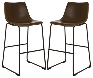 Vintage Brown Leatherette Bar Stools Set of 2