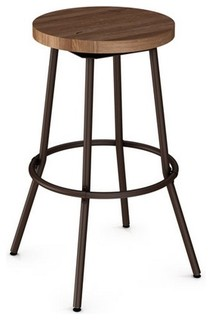 Backless Swivel Stool With Wood Seat Bar Seat