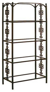 Etagere With French Curl Side Panel And 4 Glass Shelves Aged Iron 37 quot Wx19 quot D