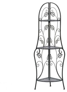 Traditional Iron Corner Bakers Rack 3 Tier Plant Stand Kitchen Dining Shelf