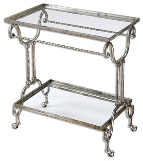 Uttermost 24463 Acasia Silver Tea Cart