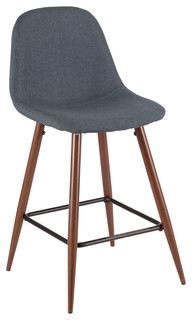 Pebble Mid Century Modern Counter Stool Walnut and Blue