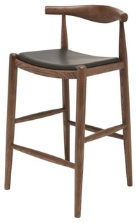 Leather Counter Stool in Walnut Finish