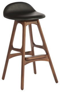 Torbin 1 Counter Stool American Walnut Black Leather