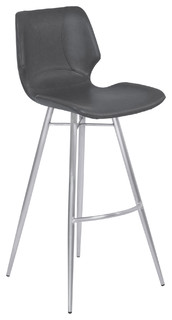 Zurich Brushed Stainless Steel Metal Bar Stool Vintage Gray Counter Height