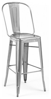 Amalfi Stackable Clear Gunmetal Steel Counter Stools Set of 4