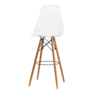 Dowel Leg Bar Stool Blue With Tall Wooden Base Clear