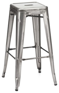 Amalfi Stackable Clear Gunmetal Steel Bar Stools Set of 4