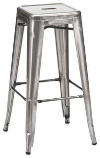 Amalfi Stackable Clear Gunmetal Steel Bar Stools Set of 4