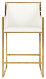 Worlds Away Brass Counterstool With White Pu Leather Upholstery