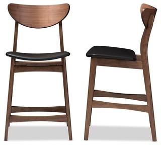 Faux Leather Upholstered Walnut Wood Finish Counter Stools Set of 2 Black
