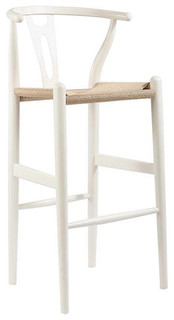 Wood Y Modern Stool Seat Natural Base White Counter Height