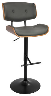 Andrei Adjustable Bar Stool With Back Walnut and Gray