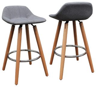 Beechwood and Gray Counter Stools Set of 2