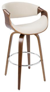 Camber Mid Century Modern bar stool Walnut amp Cream