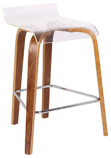 Clarity Counter Stool Walnut and Clear