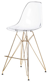Stylus Counter Stool Gold Eiffel Legs Clear