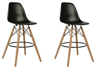 DSW Black Mid Century Modern Plastic Bar Stool Wood Eiffel Legs Set of 2