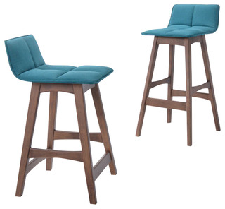 Candice Modern Teal amp Walnut Bar Stool Set of 2