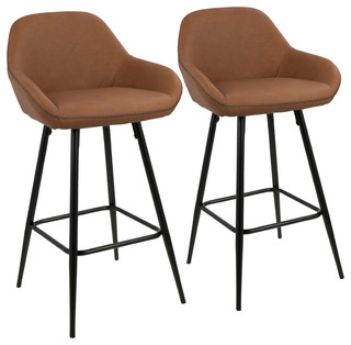 Clubhouse Counter Stool With Black Frame and Brown Vintage PU Leather Set of 2