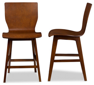 Elsa Bent Wood Counter Stool Walnut Dark Brown Set Of 2