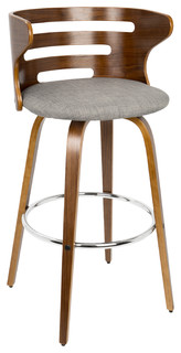 Cosini Mid Century Modern Barstool With Swivel in Walnut and Grey