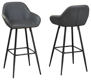Brassex Fresno 29 quot Bar Stool Set of 2 Vintage Gray
